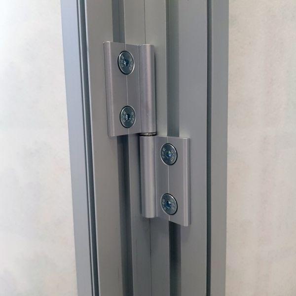 Set de 2 bisagras con tornillos para perfil doble cara