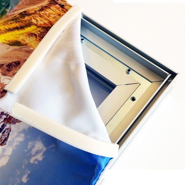 Perfil pared 16 mm para tela con silicona.