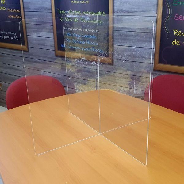 Mampara protectora mesas modelo X